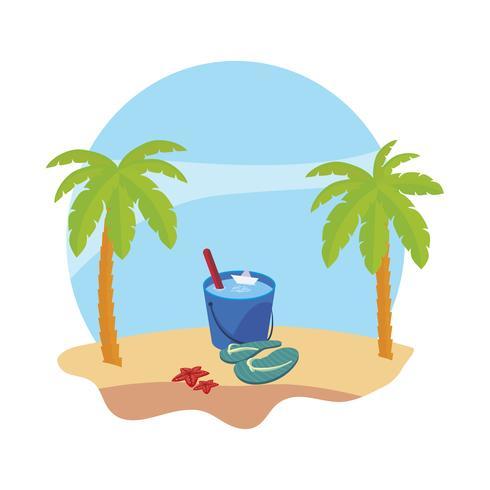 zomer strand met palmen en water emmer scène vector