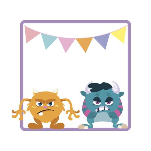 vierkant frame met grappige monsters en slingers opknoping vector