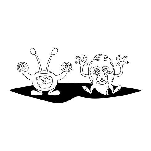 grappige monsters paar stripfiguren monochroom vector