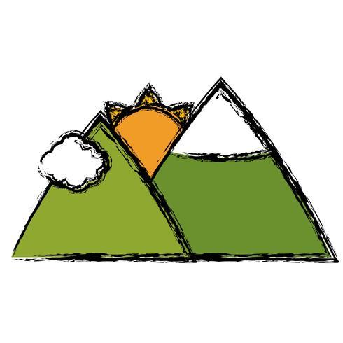 bergen en zon pictogram vector