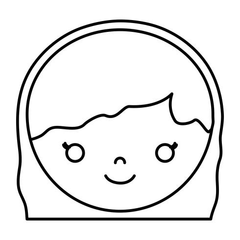 cartoon vrouw gezicht pictogram vector