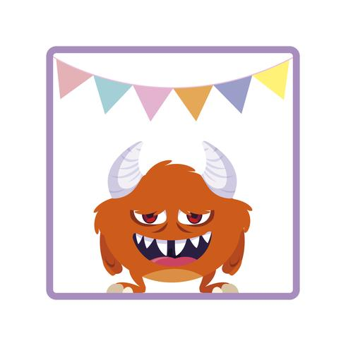 vierkant frame met monster en hoorns feest slingers vector
