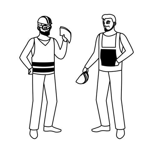 mannelijke bouwers constructeurs werknemers personages vector