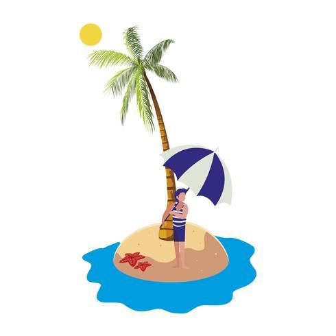 jonge jongen op het strand zomers tafereel vector