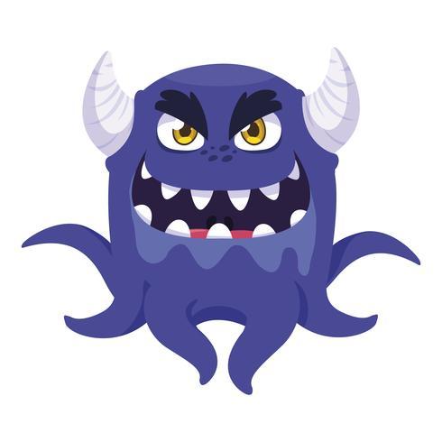 grappig monster met hoorns komisch karakter vector
