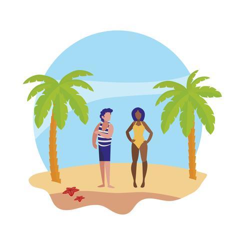 jonge jongen met vrouw op het strand zomers tafereel vector