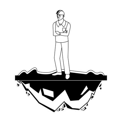 mannelijke bouwer aannemer werknemer op het gazon vector