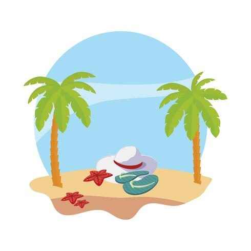 zomer strand met palmen en vrouwelijke hoed scène vector