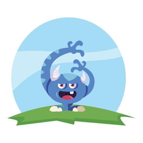 grappig monster met hoorns in het veld vector