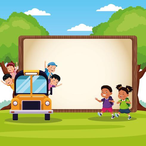 Terug naar school kinderen tekenfilms vector