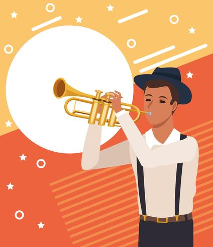 Muzikant kunstenaar cartoon vector