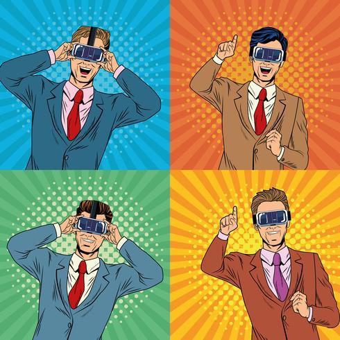 Zakenlieden virtual reality popart cartoon vector