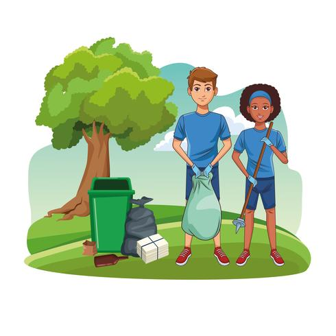 Park cleaning vrijwilligers vector