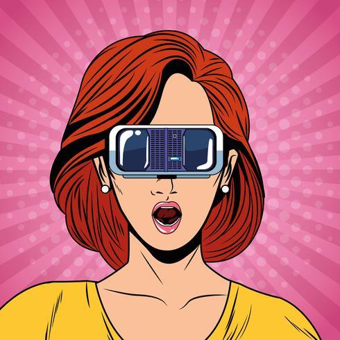 Vrouw met de technologie van virtuele werkelijkheidsglazen vector
