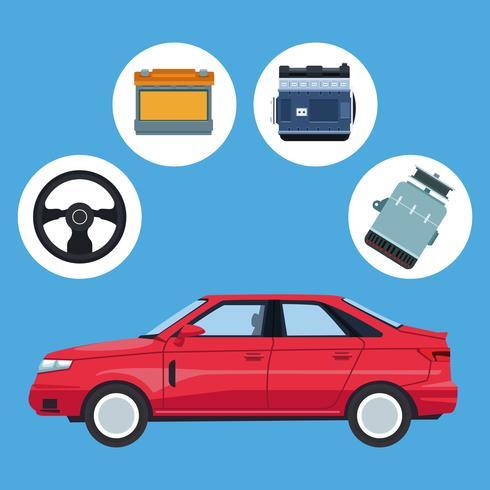 Autofabriek en onderdelen vector