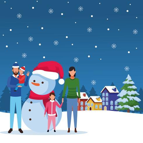gelukkige kerst in de winter vector