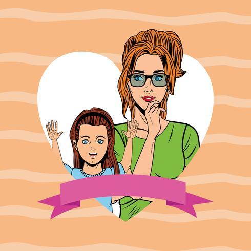 Popart moeder en dochter kaart cartoon vector