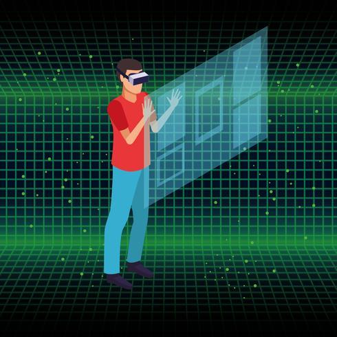 Virtual reality en vrienden tekenfilms vector