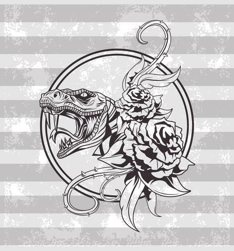Tattoo old school tekening vector