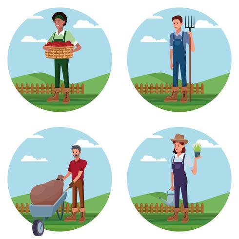Set van boeren werken in boerderij tekenfilms vector