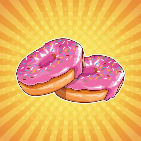 Donuts popart cartoon vector