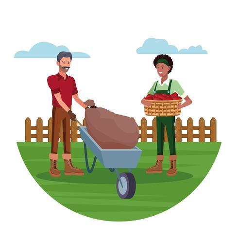 Boeren werken in boerderij tekenfilms vector