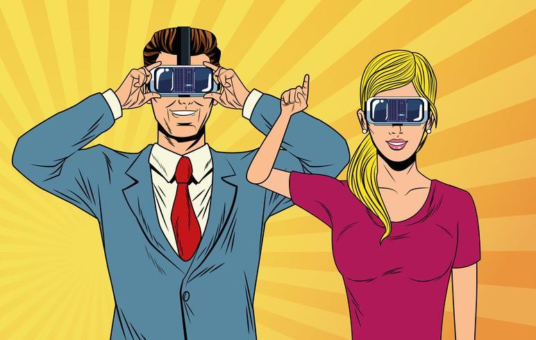 popart paar met behulp van virtual reality-bril vector