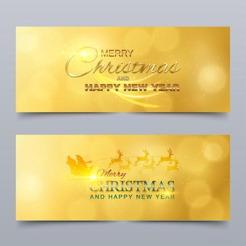 Vrolijk kerstfeest en een gelukkig nieuwjaar. Banner, wenskaart ontwerp vector