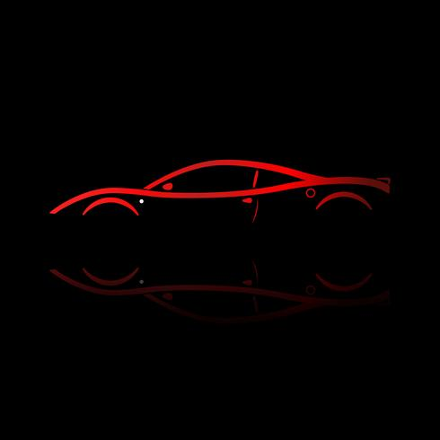 Rood sportwagensilhouet met bezinning over zwarte achtergrond. vector