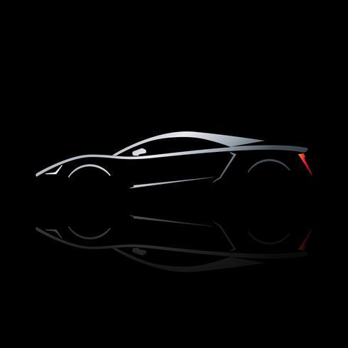 Concept sportwagen silhouet met reflectie. vector