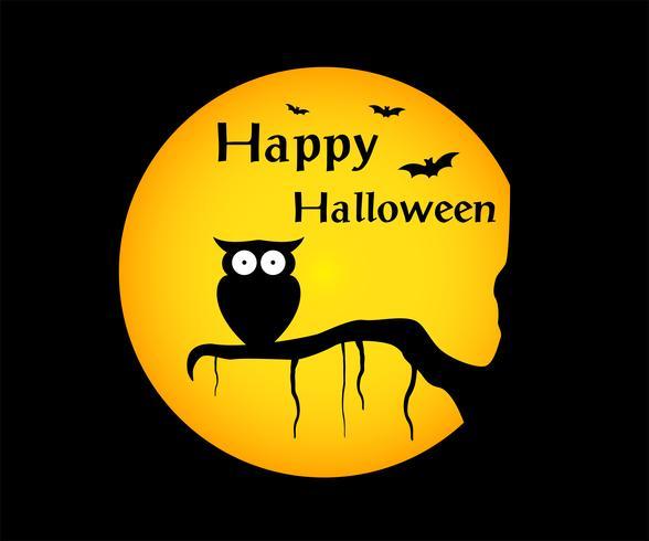 happy halloween achtergrond met illustratie uil silhouet op maan vector