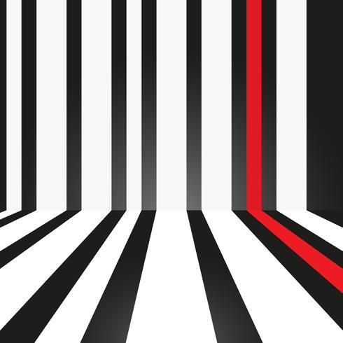 Abstracte strook wit en rood op zwarte achtergrond. vector