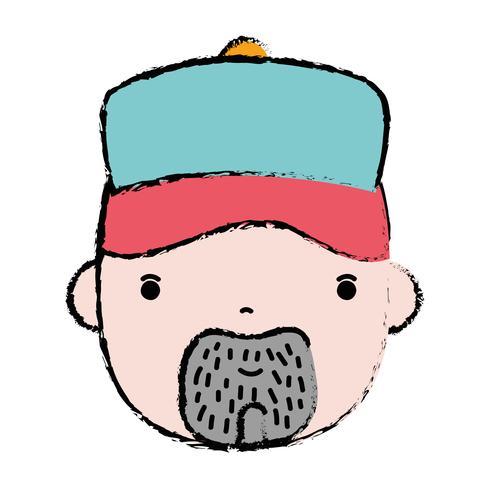 doodle man hoofd loodgieter baan voor reparatie vector