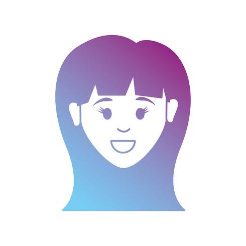 lijn avatar vrouw met kapselontwerp vector
