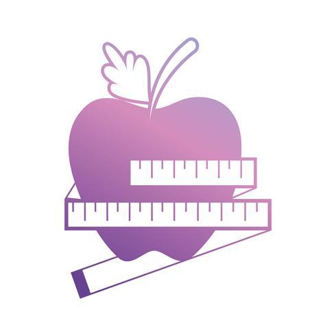lijn appelfruit met meetlint vector
