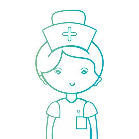 lijn vrouw verpleegster met uniform en kapselontwerp vector