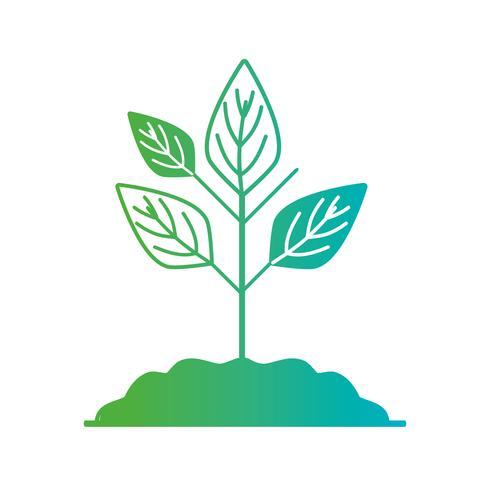 lijnplan met ecologiebladeren en grond vector
