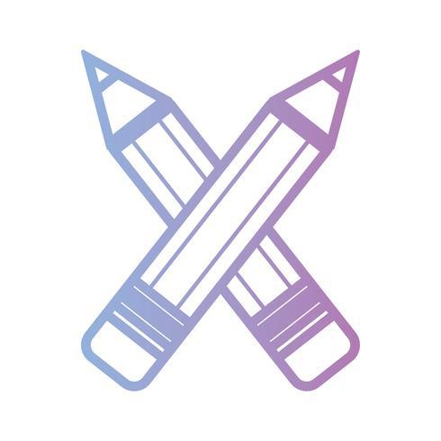 lijn potloden school hulpmiddel objectontwerp vector