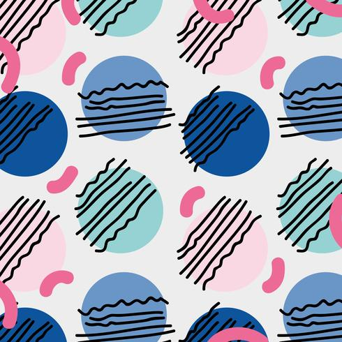Memphis-stijl met kleur geometrisch ontwerp vector