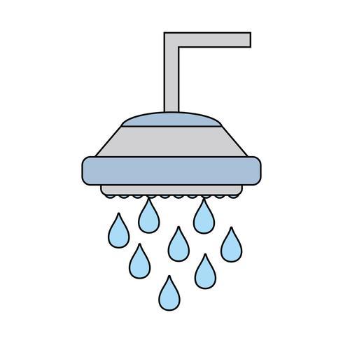 sanitair buis douche met waterdruppels vector