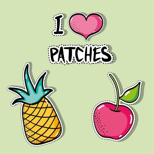 tropisch patches fruitontwerp instellen vector