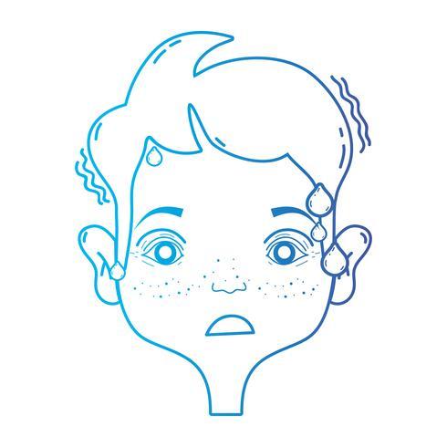 lijn man met hoofdpijn ziekte om probleem te benadrukken vector