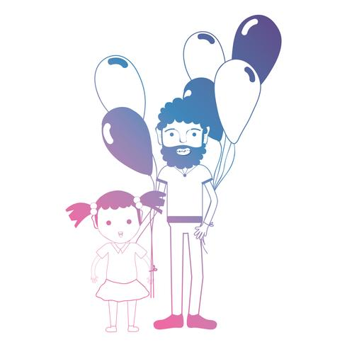 lijn vader en dauther samen met ballonnen ontwerp vector