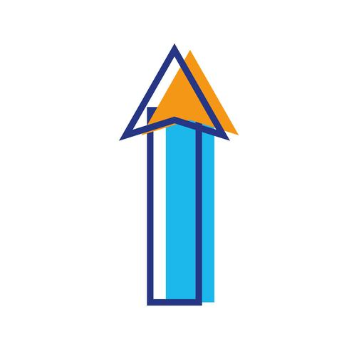 kleur web pijl omhoog laad pictogram vector