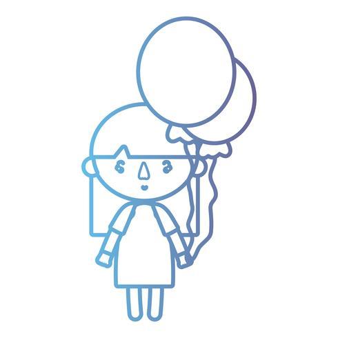 lijn meisje met kapselontwerp en ballonnen vector
