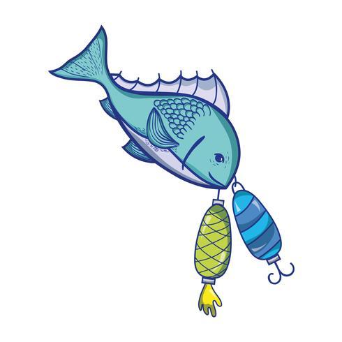 vissen bijten spinner object om het te vangen vector
