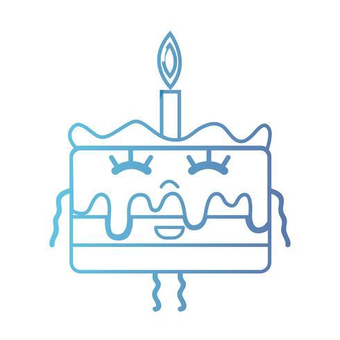 lijn schattig gelukkig zoete cake vector