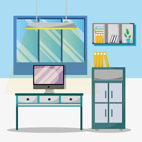 kantoor met bureau en accessoires plat om te werken vector