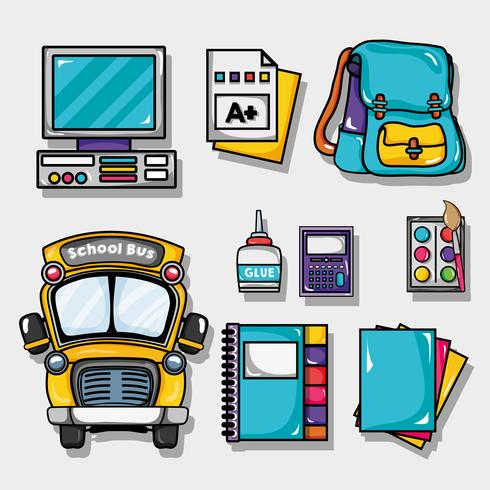 ontwerp van schoolgereedschap om te studeren en te leren vector