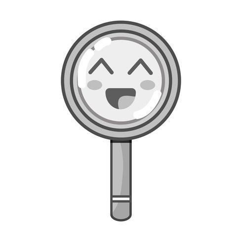 grijswaarden kawaii schattig gelukkig vergrootglas vector